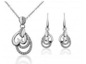 Dámský set šperků z rhodiované bižuterie CS000070 (Barva Stříbrná)