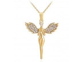 Zlatý andělíček se zirkony z rhodiované bižuterie PN000163