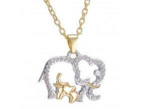 Náhrdelník s přívěskem slona stříbrnozlatý z rhodiované bižuterie PN000165