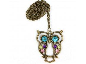 Vintage náhrdelník s přívěskem sovy PN000170
