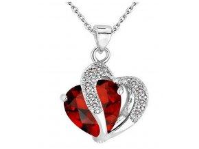 Dámský náhrdelník s přívěskem dvojitého srdce s velkým zirkonem PN000171 (Barva Žlutá)