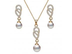 493095 perlovy set sperku ve zlatem provedeni z rhodiovane bizuterie cs000073