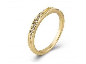 Decentní zlatý prsten se zirkony z rhodiované bižuterie SR000120