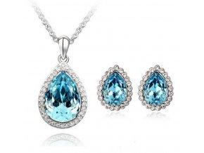Dámský set šperků z malými zirkony a velkým hlavním  zirkonem-  3 barvy CS000076 (Barva Tyrkysová)