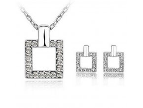 Dámský set čtvercových šperků z rhodiované bižuterie a zirkony CS000079