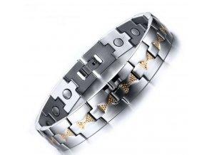 Magnetický náramek z leštěné chirurgické oceli- stříbrnozlatý ON28