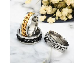 Prsten z chirurgické oceli s řetězem- zlatý SR125