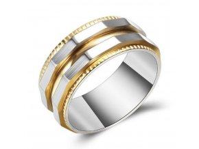 Prsten zkosený z chirurgické oceli- stříbrnozlatý SR129