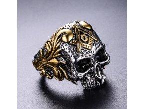 Prsten z lebkou a symbolem svobodných zednářů- stříbrný SR134