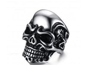 Prsten- lebka z lesklé chirurgické oceli  SR135