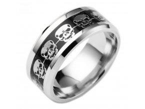 Prsten s lebkami z chirurgické oceli- stříbrnočerný SR138