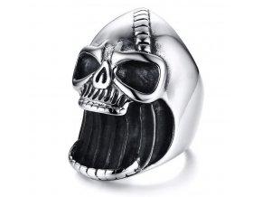 Prsten - lebka z chirurgické oceli ve stříbrné barvě SR141