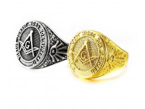 Prsten se symbolem svobodných zednářů - zlatý SR148