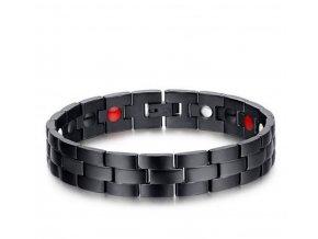 Černý magnetický náramek z chirurgické oceli ON42