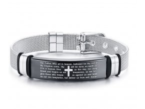 Modlitba- náramek z chirurgické oceli s hodinkovým zapínáním ON43