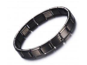 Černý náramek z chirurgické oceli SSB113