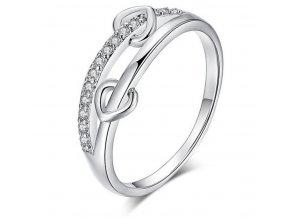 Prsten z rhodiované bižuterie se zirkony Double Hearts SR157