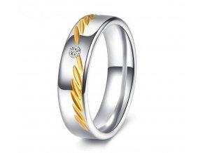 Prsten z chirurgické oceli s rýhováním a zirkonem SR158