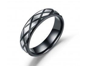 Prsten z broušené chirurgické oceli černostříbrný SR160