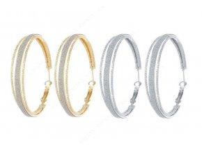 Dámské kruhové náušnice z pískované chirurgické oceli- 2 barvy SE88