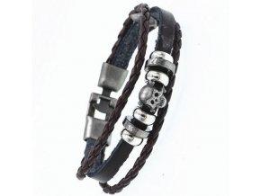 Náramek z kůže s korálky a lebkou SSB121