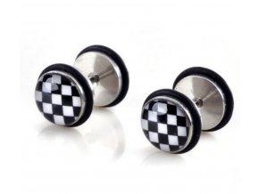Pecičky z chirurgické oceli a silikonu- motiv Šachovnice SE103