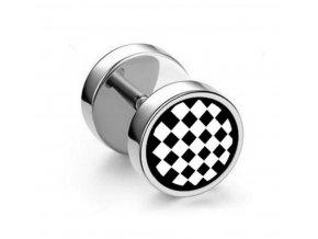 Náušnice z chirurgické oceli - motiv Šachovnice SE127