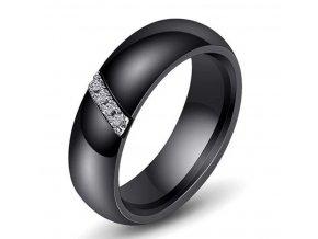 Dámský prsten z keramiky, chirurgické oceli se zirkony v černé barvě SR161