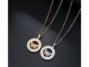 Dámský náhrdelník s přívěskem motýla z chirurgické oceli a zirkony PN186