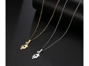 Dámský náhrdelník s přívěskem ještěrky z chirurgické oceli PN188