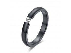 Dámský prsten z chirurgické oceli s decentním zirkonem v černém provedení SR163