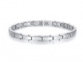 Decentní magnetický náramek z oceli ve stříbrné barvě ON57