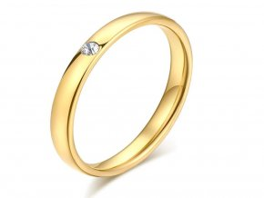 Dámský prsten s decentním zirkonem z chirurgické oceli - zlatý SR167 (Velikost 10)