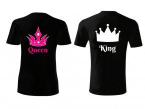 Tričko pro páry- King and Queen- černé (Velikost dámská XS, Velikost pánská XL)