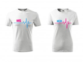 Tričko pro páry- His- Her bílé (Velikost dámská XS, Velikost pánská XL)