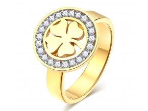 Dámský prsten čtyřlístek pro štěstí z chirurgické oceli- zlatý SR169