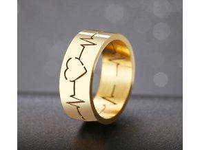 Dámský prsten EKG se srdíčkem z chirurgické oceli- zlatý SR172