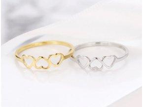 Dámský decentní prsten z chirurgické oceli se srdíčky- stříbrný SR173
