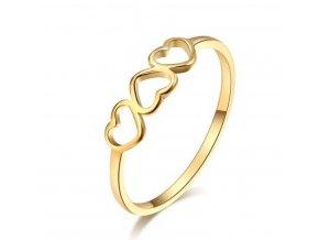 Dámský decentní prsten z chirurgické oceli se srdíčky- zlatý SR174