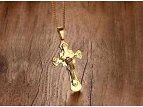 Masivní náhrdelník s ukřižovaný Ježíšem z chirurgické oceli ve zlaté barvě PN191