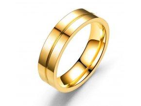 Prsten z leštěné chirurgické oceli ve zlatém provedení Line SR179