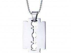 Řetízek s přívěskem z chirurgické oceli ,,žiletka,, silver/gold PN000036 (Barva Stříbrná)