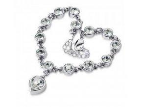 Náramek se zirkony ve tvaru srdce silver CB000017 (Barva Růžová)