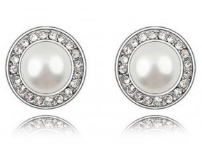Náušnice se zirkony a perlou CE000019 (Barva Zlatá)