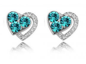 Náušnice Heart shaped- silver CE000023 (Barva Vícebarevná)