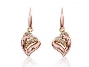 Náušnice Double Heart Dangle CE000034 (Barva Zlatá)