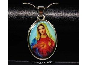 Řetízek s přívěskem Panny Marie z chirurgické oceli PN000042