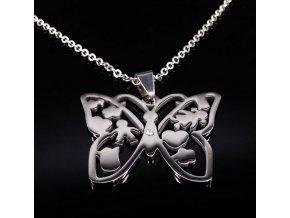 Řetízek s přívěskem motýla z chirurgické oceli PN000059