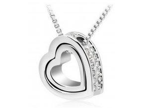 Řetízek s přívěskem Double hearts silver PN000083
