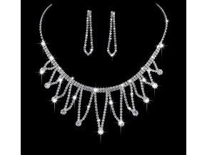 Plesový set náušnic a náhrdelníku se zirkony CS000034